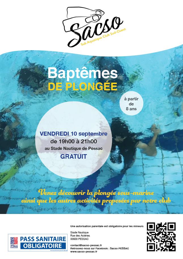 Baptême de Plongée Stade Nautique SACSO - 2021